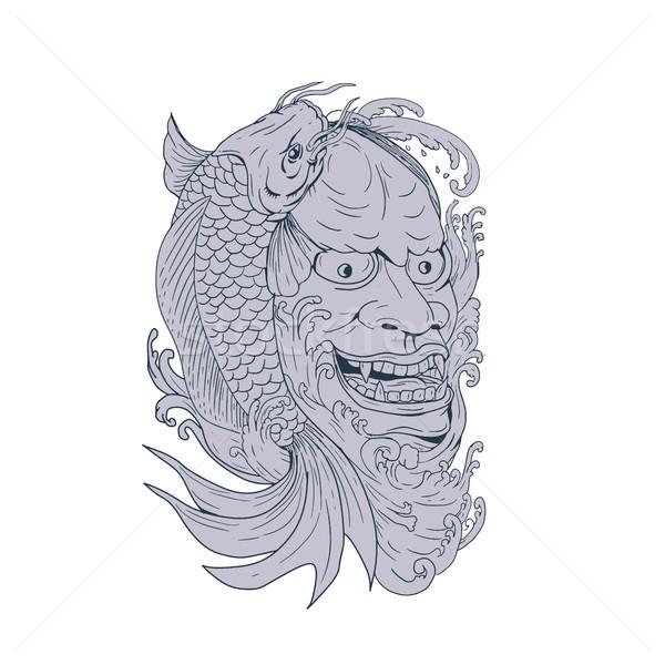 Maske koi balık çizim kroki stil Stok fotoğraf © patrimonio