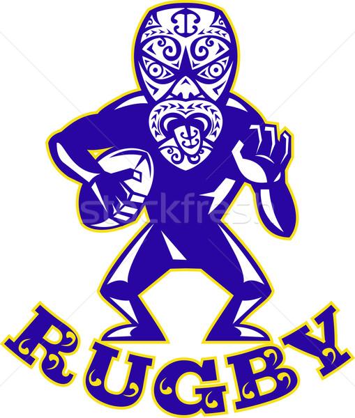 マスク ラグビー プレーヤー を実行して ボール 実例 ストックフォト © patrimonio