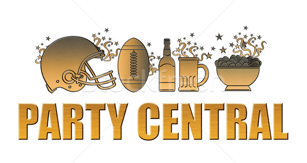 american football helmet ball beer chips party central Stock photo © patrimonio