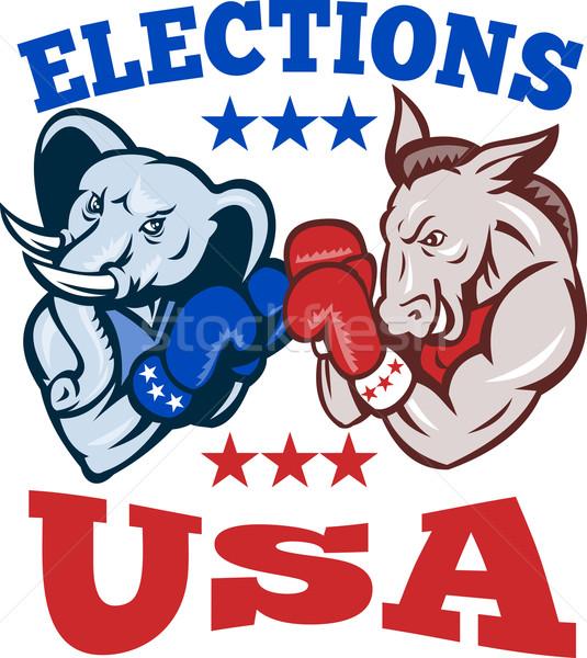 Demokrat eşek cumhuriyetçi fil maskot ABD Stok fotoğraf © patrimonio