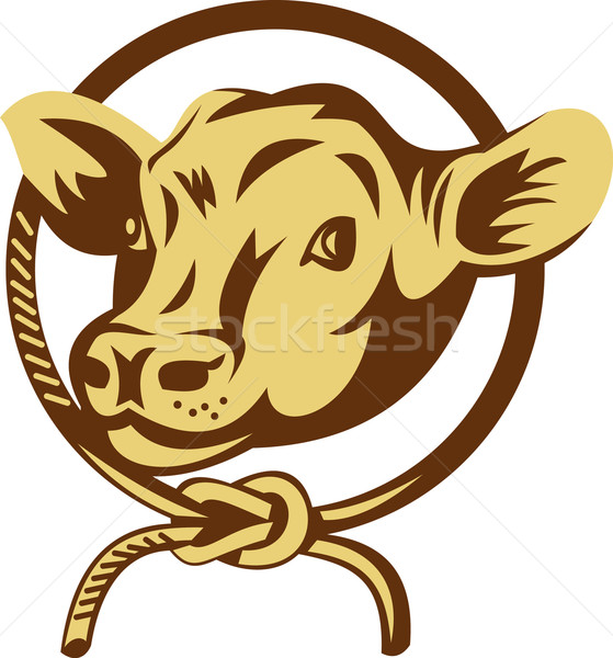 Cow mascot with tied square knot rope Stock photo © patrimonio