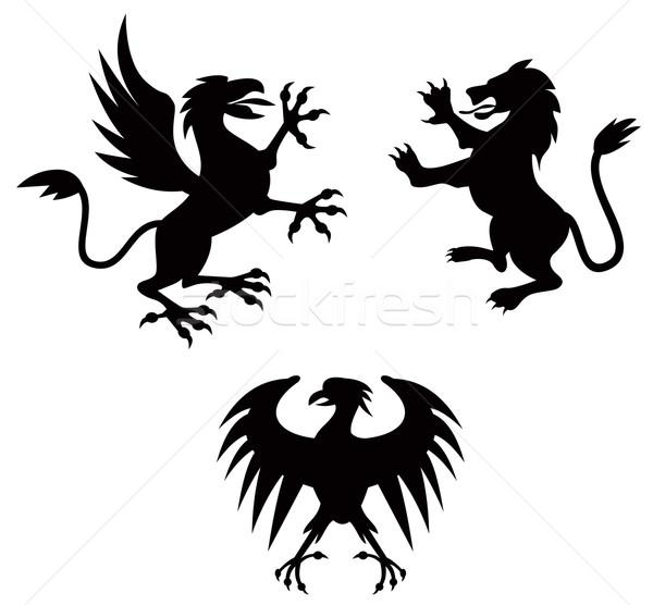 грифон лев силуэта иллюстрация гриф набор Сток-фото © patrimonio