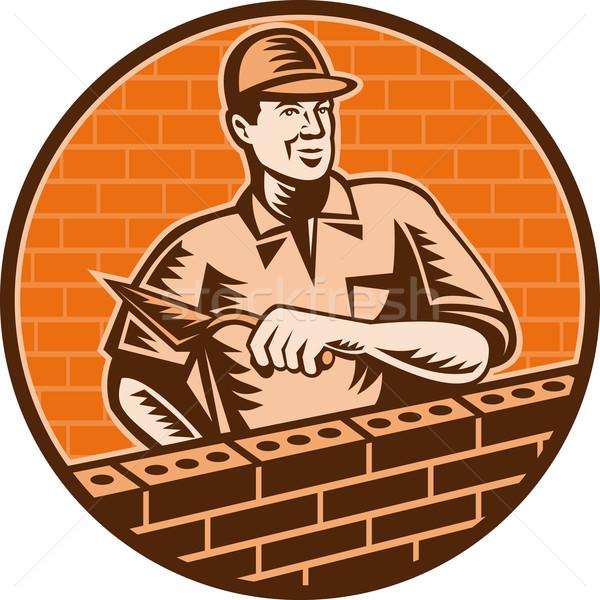 Albañil trabajador ladrillo capa icono ilustración Foto stock © patrimonio