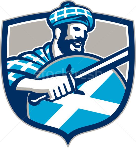 Espada escudo retro ilustración Escocia bandera Foto stock © patrimonio