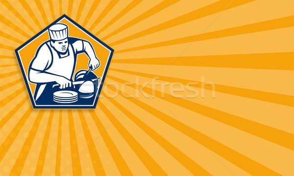 Szakács szakács szeletel sonka retro mutat Stock fotó © patrimonio