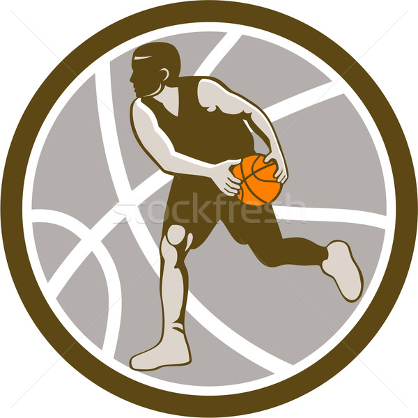 Basketball Player Dribbling Ball Circle Retro Stock photo © patrimonio