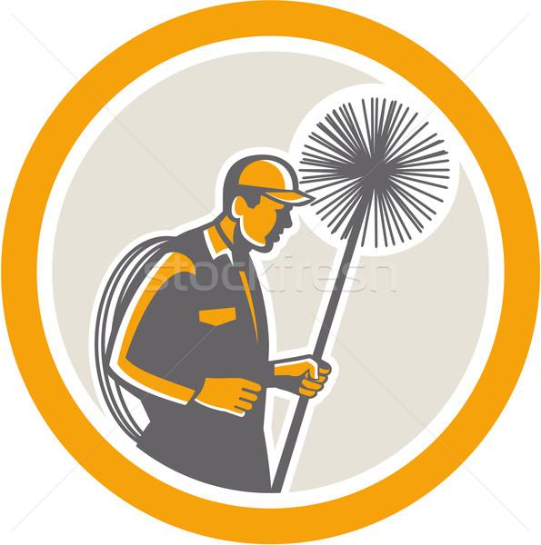 Сток-фото: дымоход · работник · ретро · иллюстрация · веревку