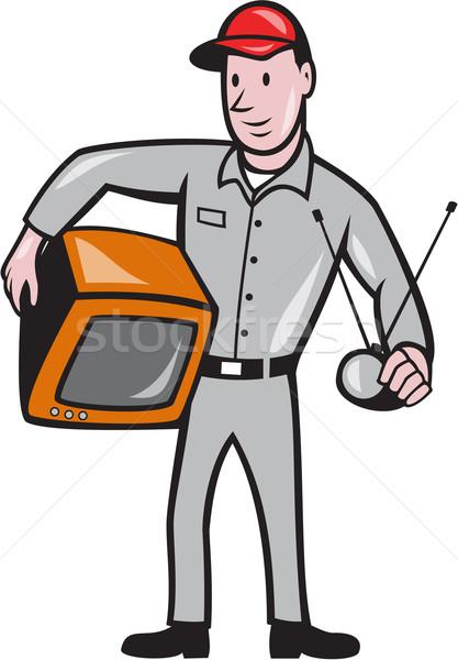 Tv · szerelő · technikus · rajz · illusztráció · munkás - vektorgrafika © patrimonio (#4175950) | Stockfresh