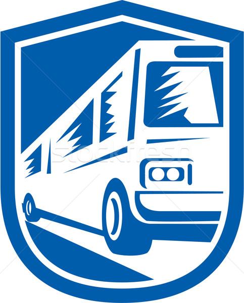 Tourist Coach Shuttle Bus Travelling Fast Retro Stock photo © patrimonio