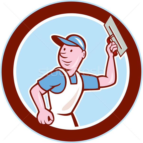 кирпичная кладка работник круга Cartoon иллюстрация Сток-фото © patrimonio