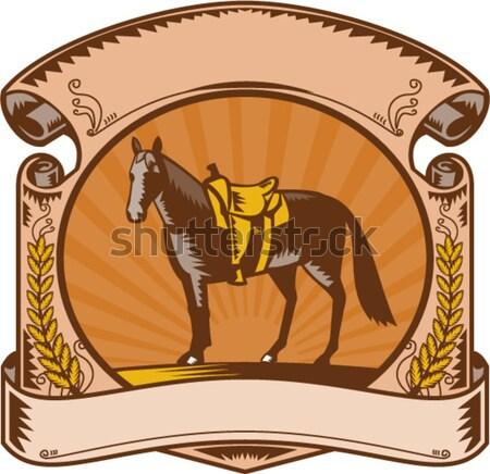 Gazda ló retró stílus illusztráció mező hátulnézet Stock fotó © patrimonio