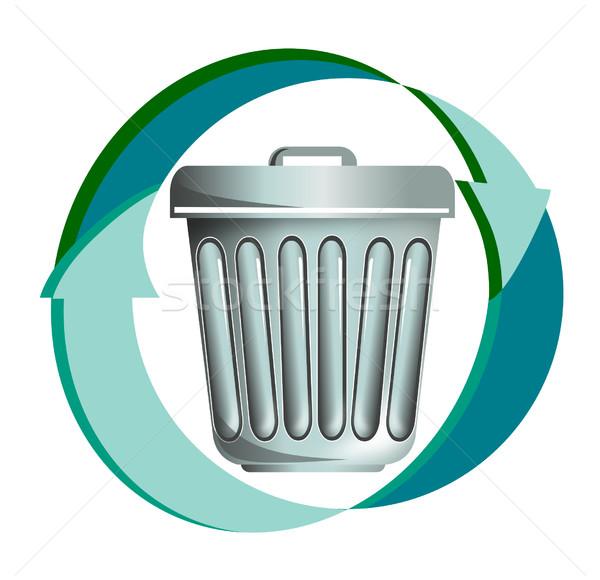 Cesto de lixo azul ilustração Foto stock © patrimonio