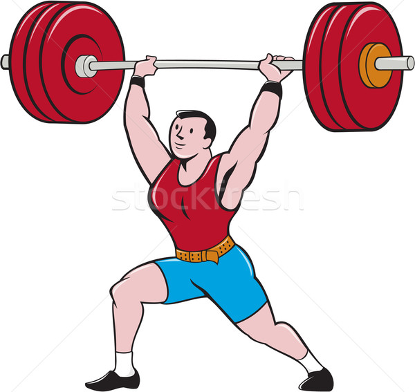 Weightlifter Lifting Barbell Isolated Cartoon Stock photo © patrimonio
