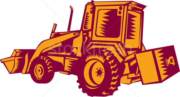 Mechanical Digger Excavator Woodcut Stock photo © patrimonio