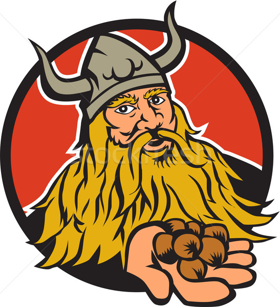 Stock photo: Viking Handing Hazelnut Circle Retro
