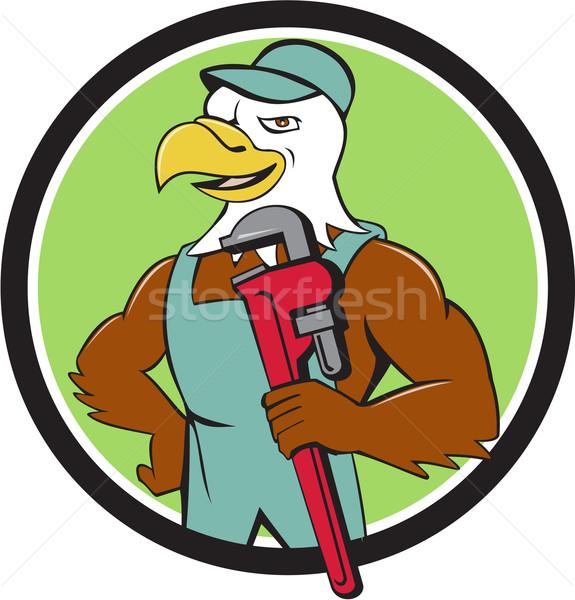 Bald Eagle Plumber Monkey Wrench Circle Cartoon Stock photo © patrimonio