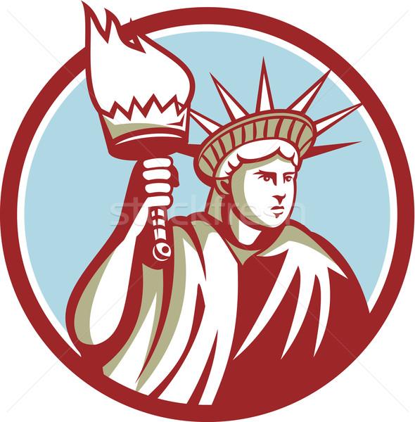 Estatua libertad llameante antorcha círculo Foto stock © patrimonio