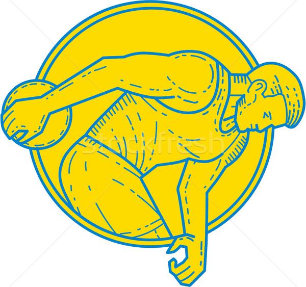 Discus Throw Athlete Side Circle Mono Line Stock photo © patrimonio