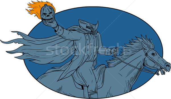 Headless Horseman Pumpkin Head Horse Oval Drawing Stock photo © patrimonio