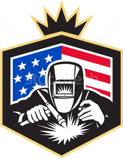 Welder Arc Welding USA Flag Crest Retro Stock photo © patrimonio