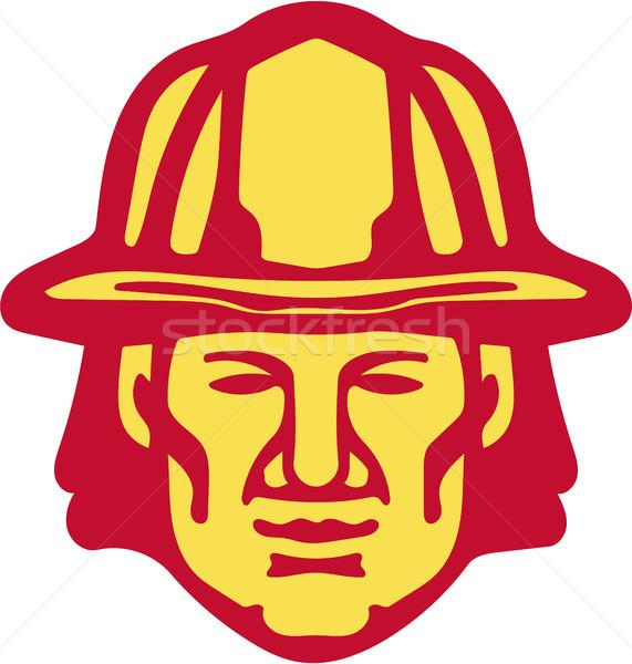 Fireman Head Front Retro Stock photo © patrimonio