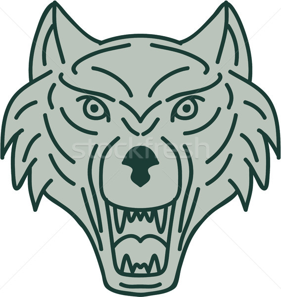 Gray Wolf Head Mono Line Stock photo © patrimonio