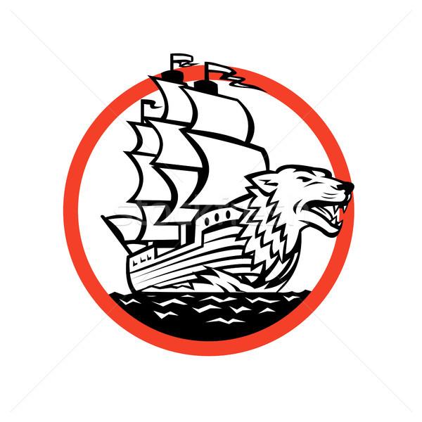Galleon Ship Wolf on Bow Circle Retro Stock photo © patrimonio