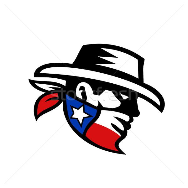 Teksas haydut kovboy yan Retro retro tarzı Stok fotoğraf © patrimonio