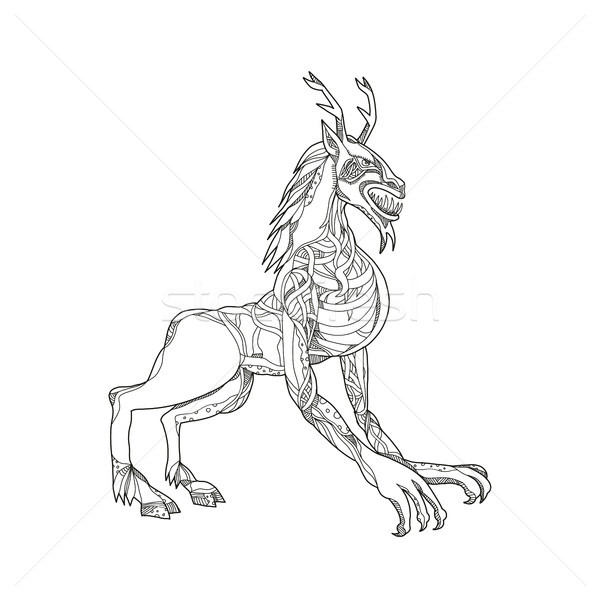 Wendigo Crouching Doodle Art Stock photo © patrimonio