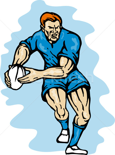 rugby player running passing the ball Stock photo © patrimonio