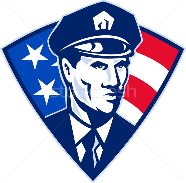 Amerikaanse politieagent politieagent veiligheid illustratie Stockfoto © patrimonio