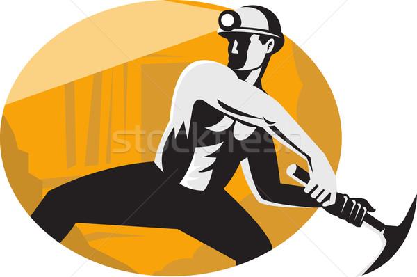 Coal Miner With Pick Ax Striking Retro Stock photo © patrimonio