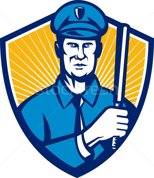 Policier policier bouclier rétro illustration Photo stock © patrimonio