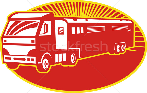 Horse Transport Truck Trailer Retro  Stock photo © patrimonio