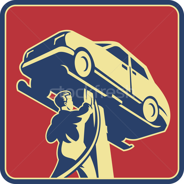 Mekanik teknisyen Retro örnek araba Stok fotoğraf © patrimonio