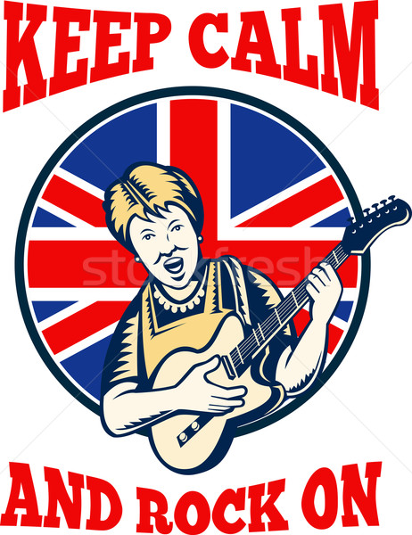 Stock photo: Keep Calm Rock On British Flag Queen Granny Guitar