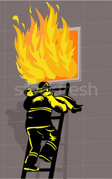 fireman fire fighter saving boy burning building Stock photo © patrimonio