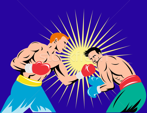Stock photo: boxer connecting knockout punch