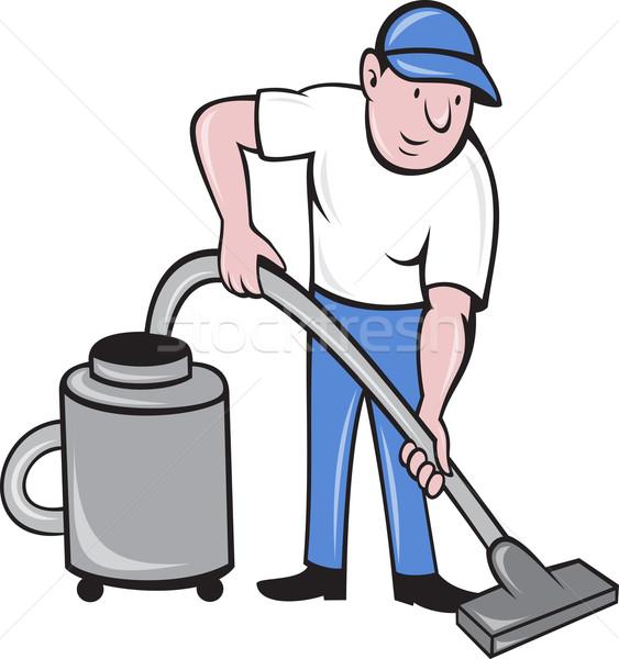 Male Cleaner vacuuming vacuum cleaning Stock photo © patrimonio