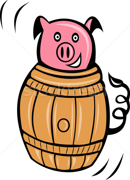 Stock photo: pig pork stuck in barrel