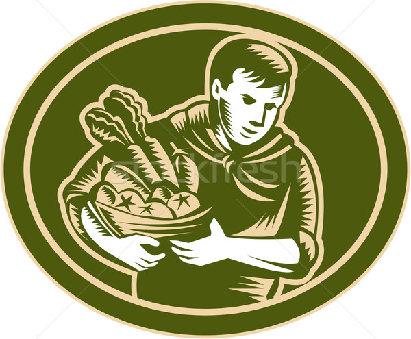Organic Farmer Crop Harvest Woodcut Stock photo © patrimonio