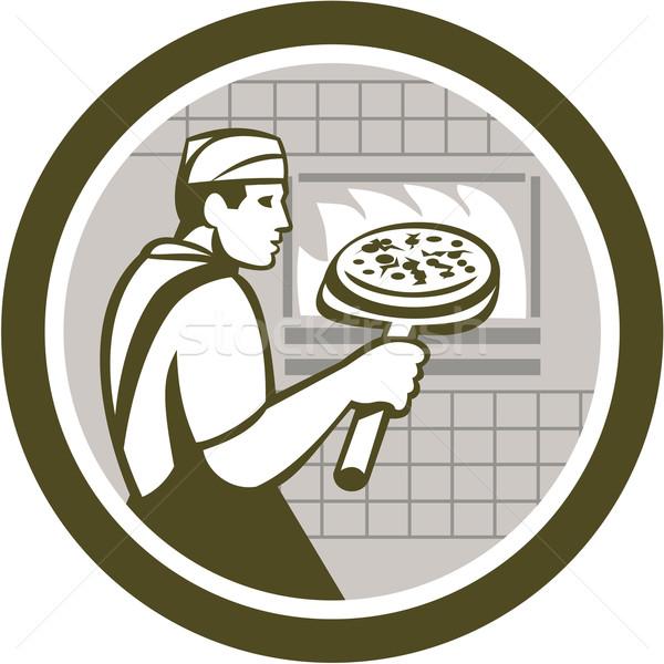 Pizza Maker Holding Peel Side Retro Circle Stock photo © patrimonio