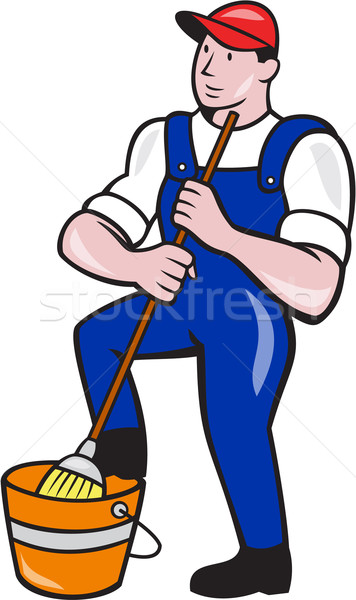 Janitor Cleaner Holding Mop Bucket Cartoon Stock photo © patrimonio