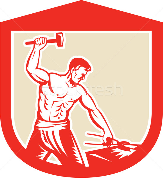 Blacksmith Striking Sledgehammer Anvil Shield Retro Stock photo © patrimonio