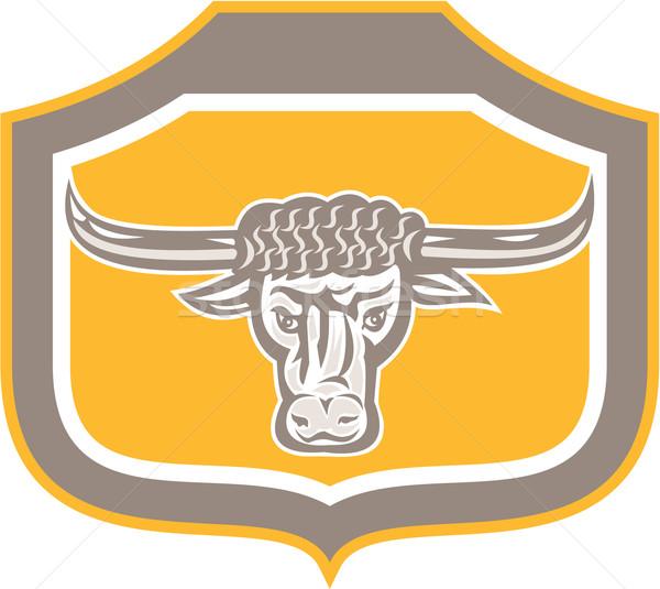 Bull Head Snorting Shield Retro Stock photo © patrimonio