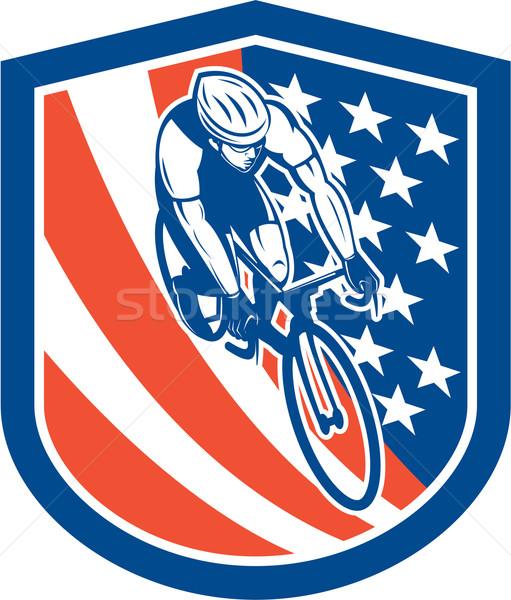 Bicycle Rider USA Flag Shield Retro Stock photo © patrimonio