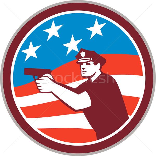 Rendőr fegyver amerikai zászló kör retro illusztráció Stock fotó © patrimonio