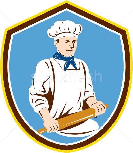 Baker Chef Cook Rolling Pin Shield Retro Stock photo © patrimonio