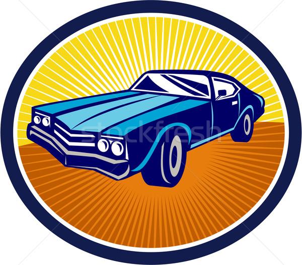 Amerikaanse vintage muscle car retro illustratie Stockfoto © patrimonio