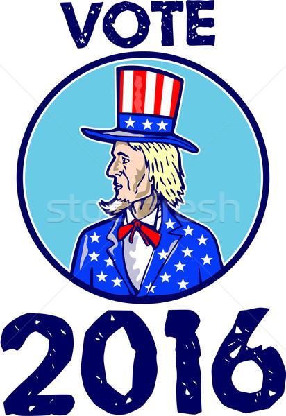 Vote 2016 Uncle Sam TopHat American Flag Circle Retro Stock photo © patrimonio